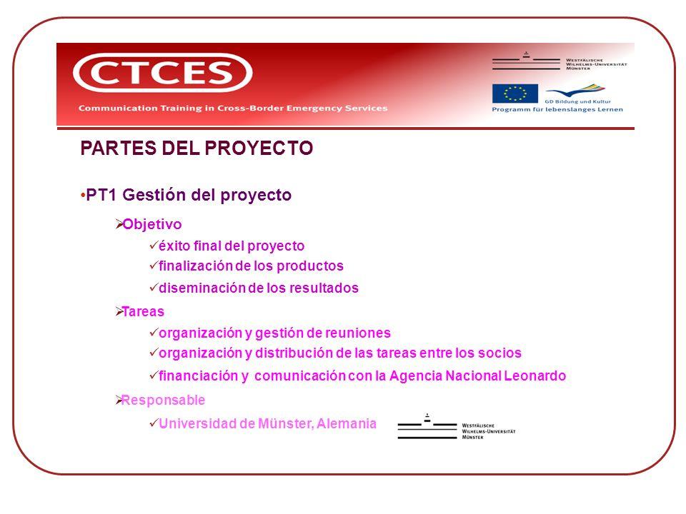 PARTES DEL PROYECTO PT1 Gestión del proyecto Objetivo