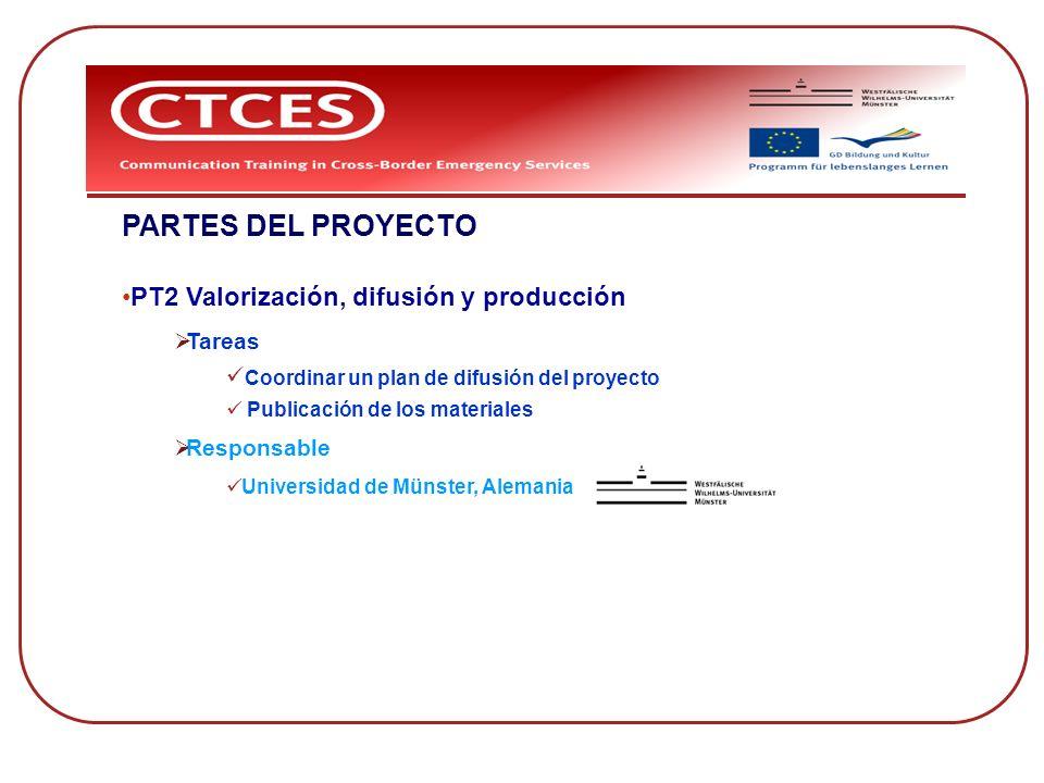 PARTES DEL PROYECTO PT2 Valorización, difusión y producción Tareas