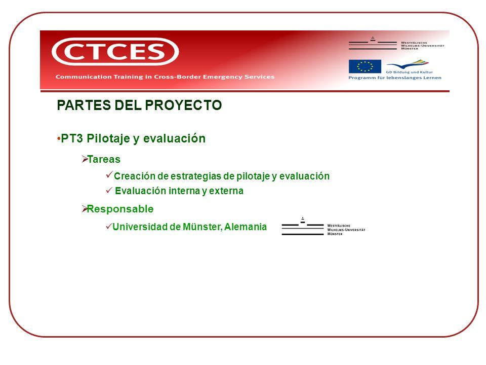PARTES DEL PROYECTO PT3 Pilotaje y evaluación Tareas
