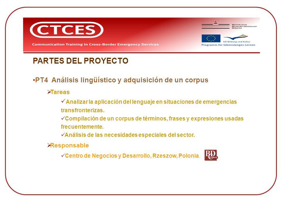 PARTES DEL PROYECTO PT4 Análisis lingüístico y adquisición de un corpus. Tareas. Analizar la aplicación del lenguaje en situaciones de emergencias.