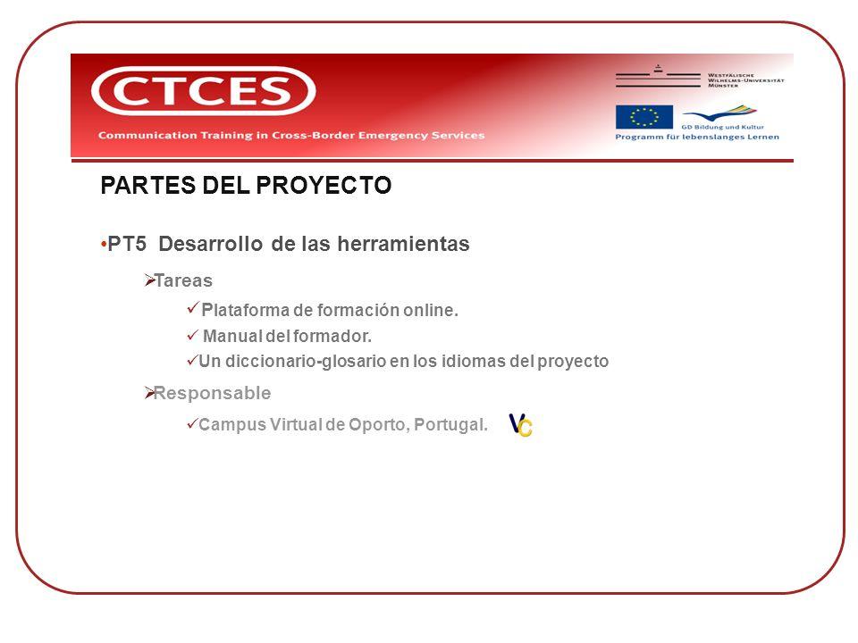 PARTES DEL PROYECTO PT5 Desarrollo de las herramientas Tareas
