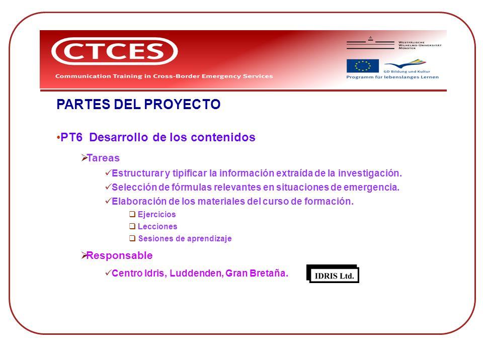 PARTES DEL PROYECTO PT6 Desarrollo de los contenidos Tareas