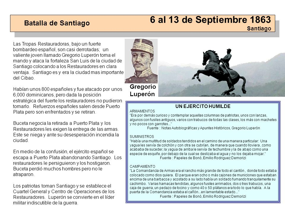 6 al 13 de Septiembre 1863 Santiago
