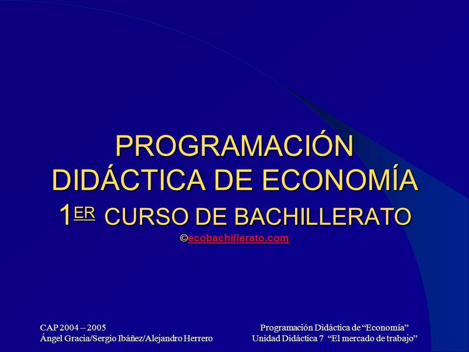 PROGRAMACIÓN DIDÁCTICA DE ECONOMÍA 1ER CURSO DE BACHILLERATO ©ecobachillerato.com