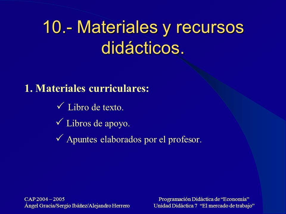 10.- Materiales y recursos didácticos.