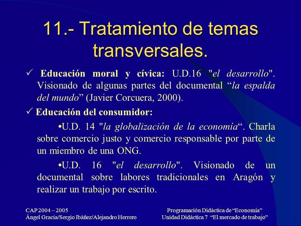 11.- Tratamiento de temas transversales.