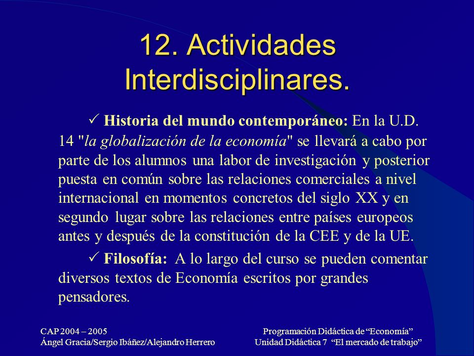 12. Actividades Interdisciplinares.
