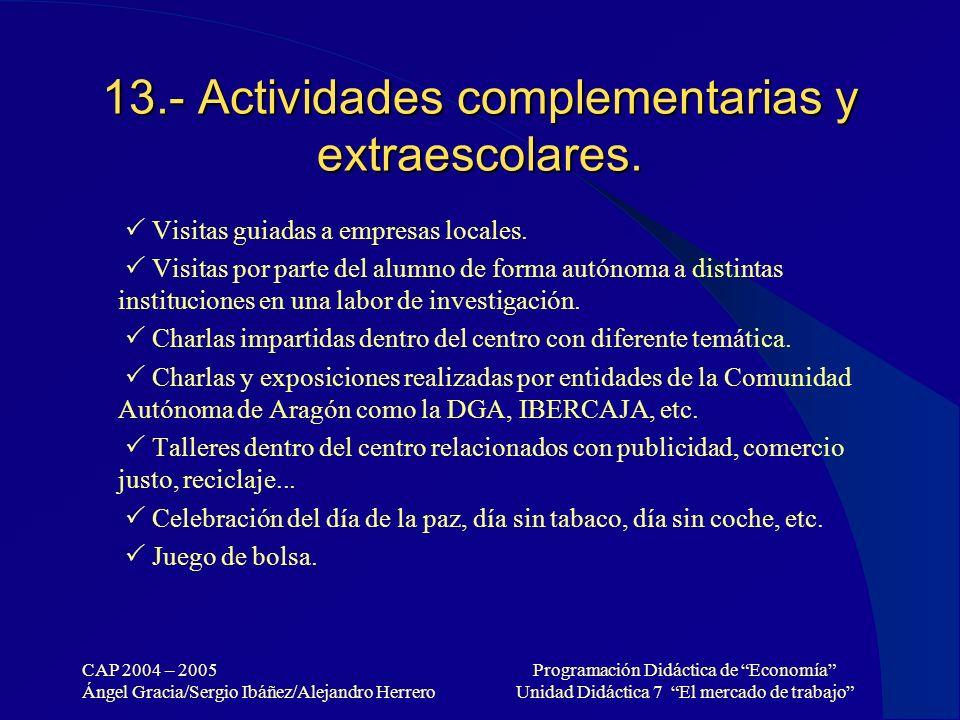13.- Actividades complementarias y extraescolares.