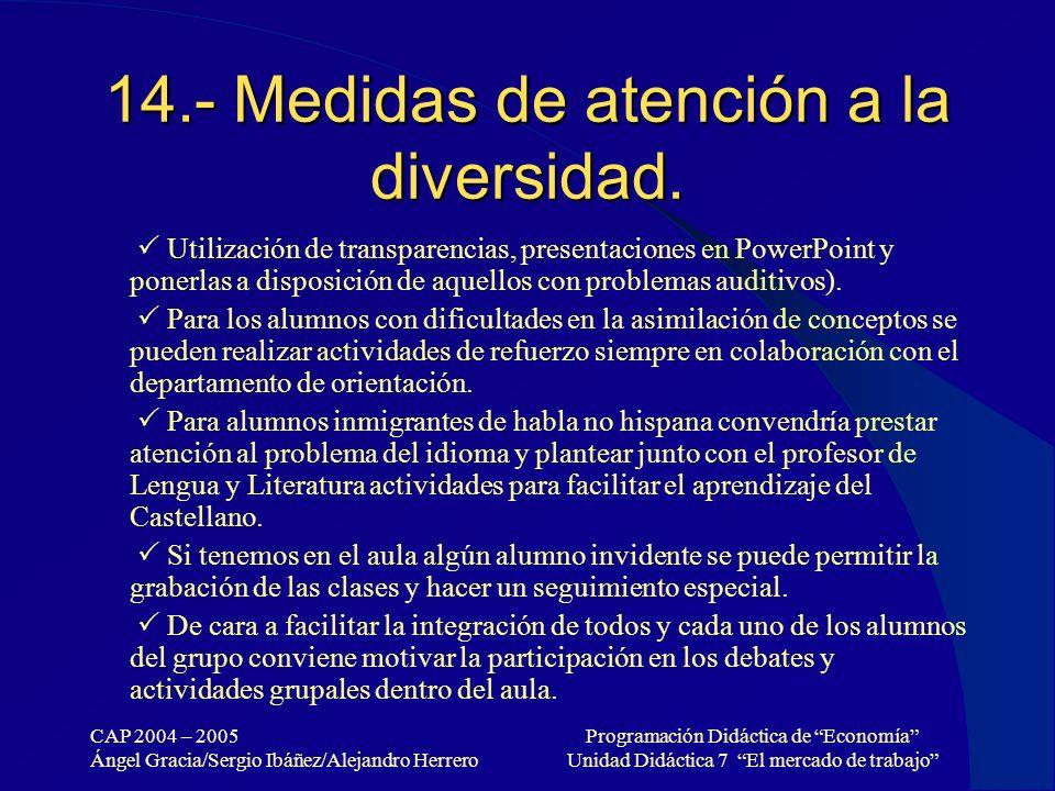 14.- Medidas de atención a la diversidad.