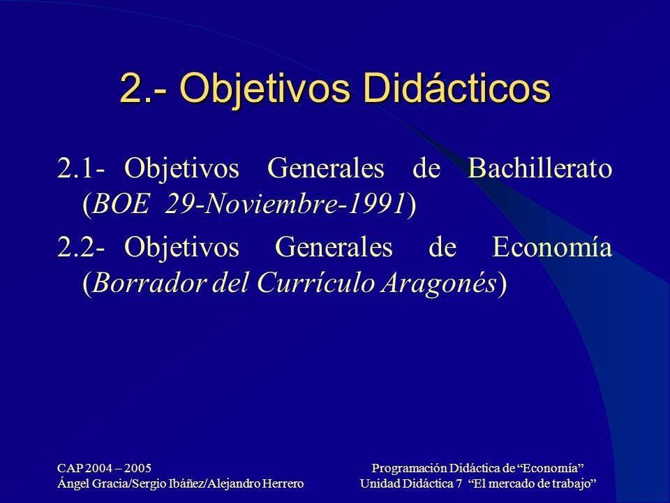 2.- Objetivos Didácticos