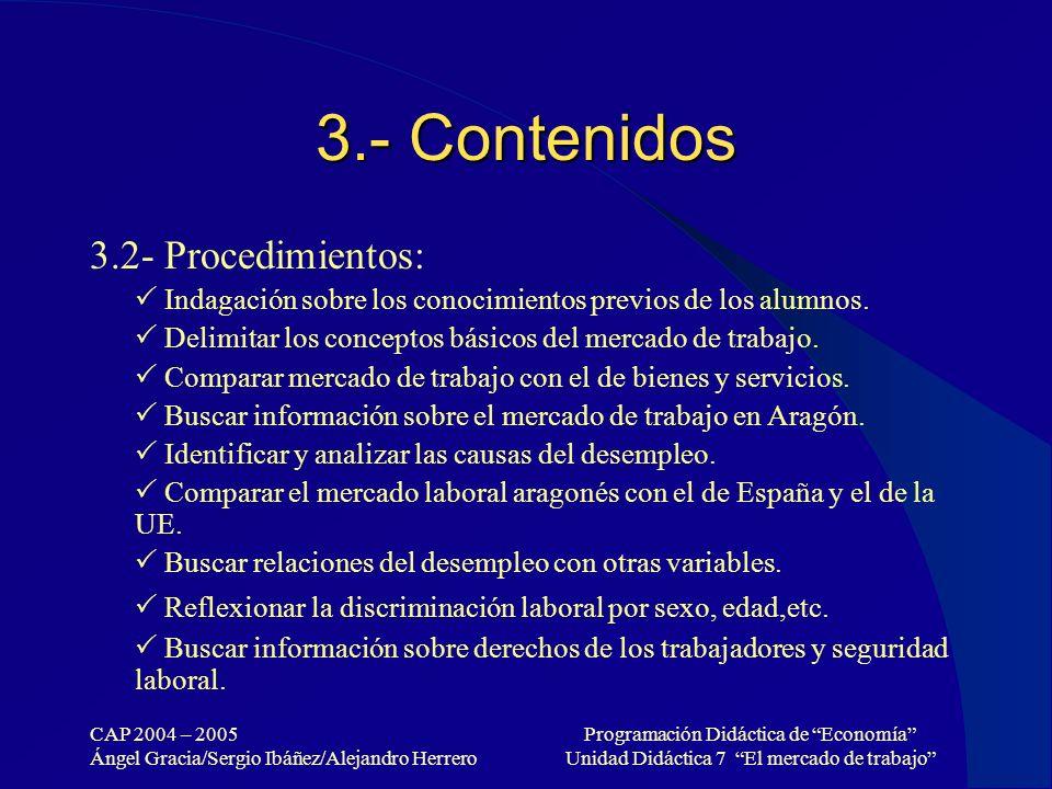 3.- Contenidos 3.2- Procedimientos: