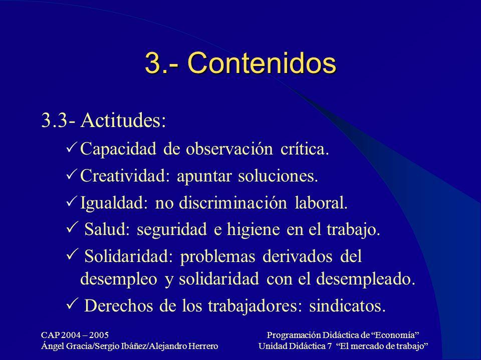 3.- Contenidos 3.3- Actitudes: Capacidad de observación crítica.