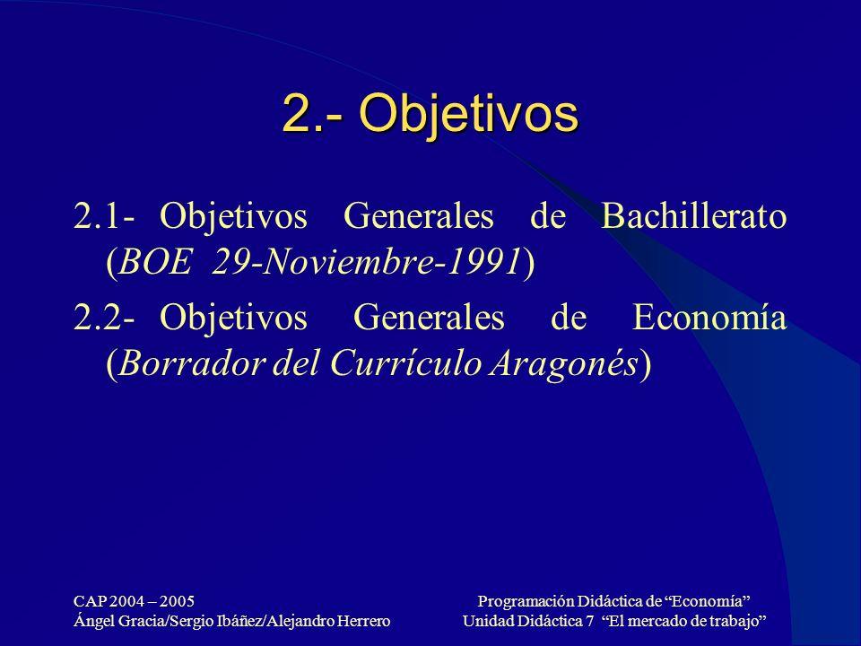 2.- Objetivos 2.1- Objetivos Generales de Bachillerato (BOE 29-Noviembre-1991)