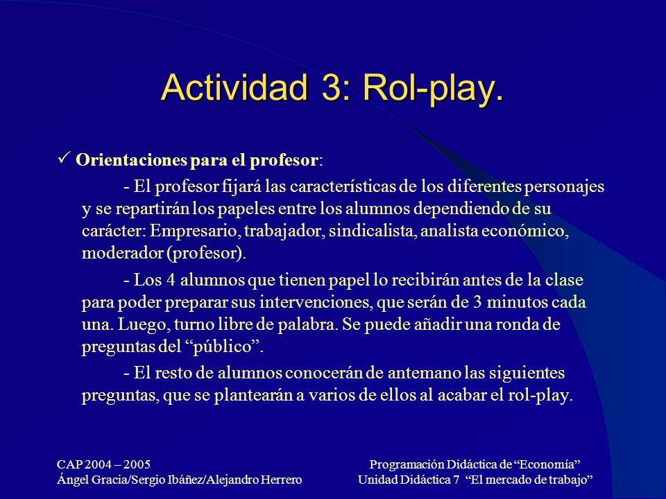 Actividad 3: Rol-play.  Orientaciones para el profesor: