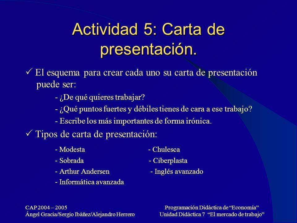 Actividad 5: Carta de presentación.