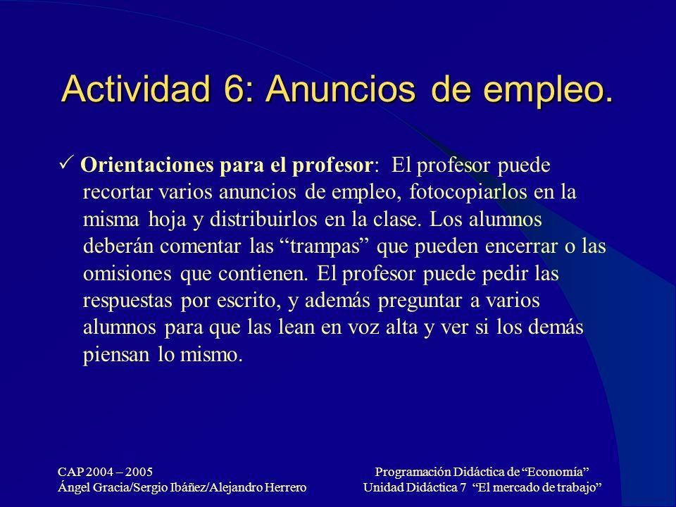 Actividad 6: Anuncios de empleo.