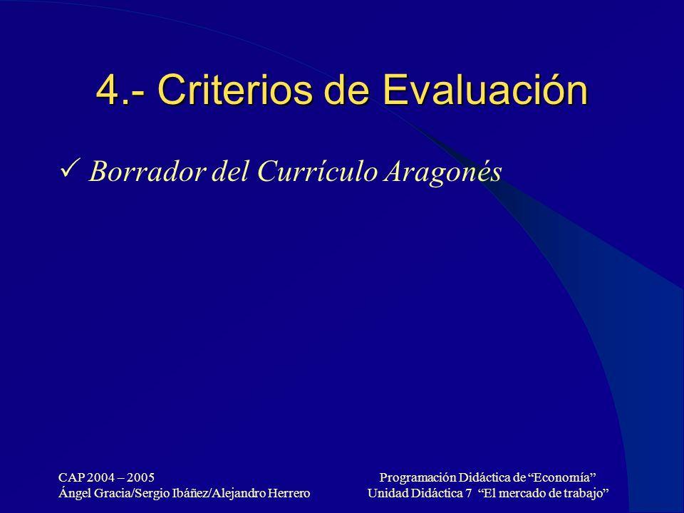 4.- Criterios de Evaluación