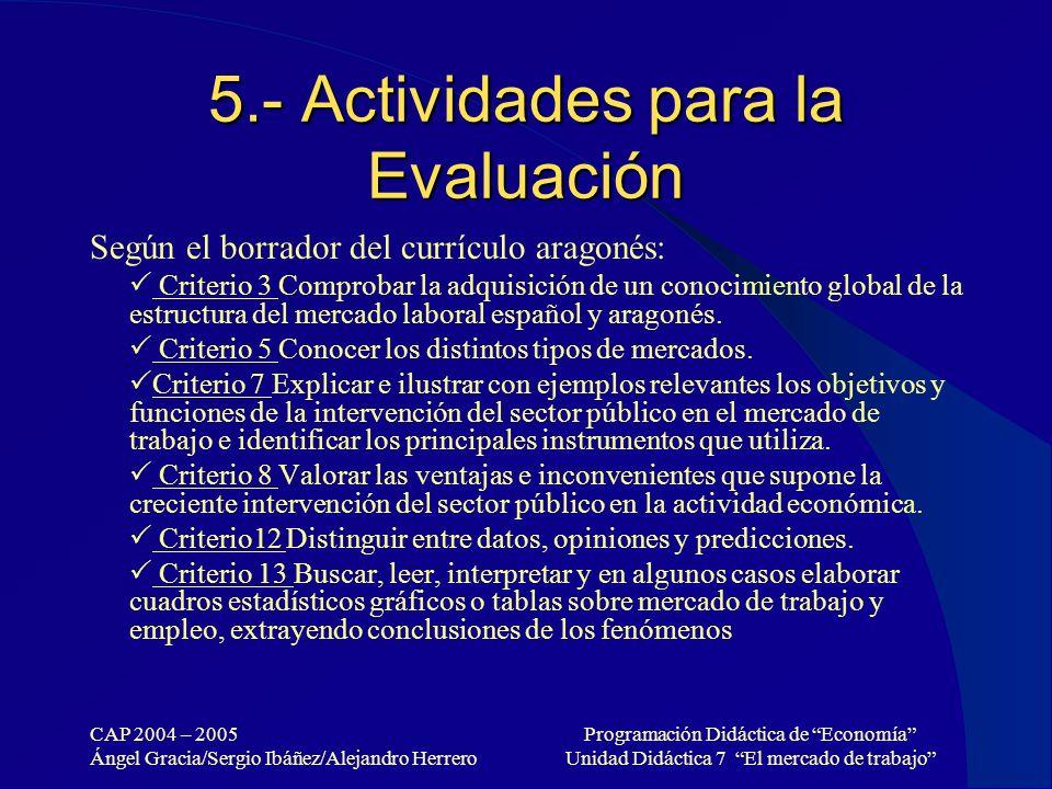 5.- Actividades para la Evaluación