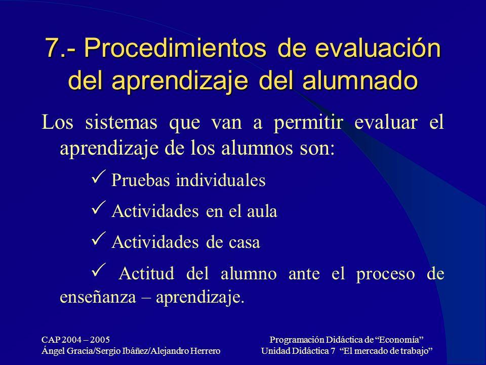 7.- Procedimientos de evaluación del aprendizaje del alumnado