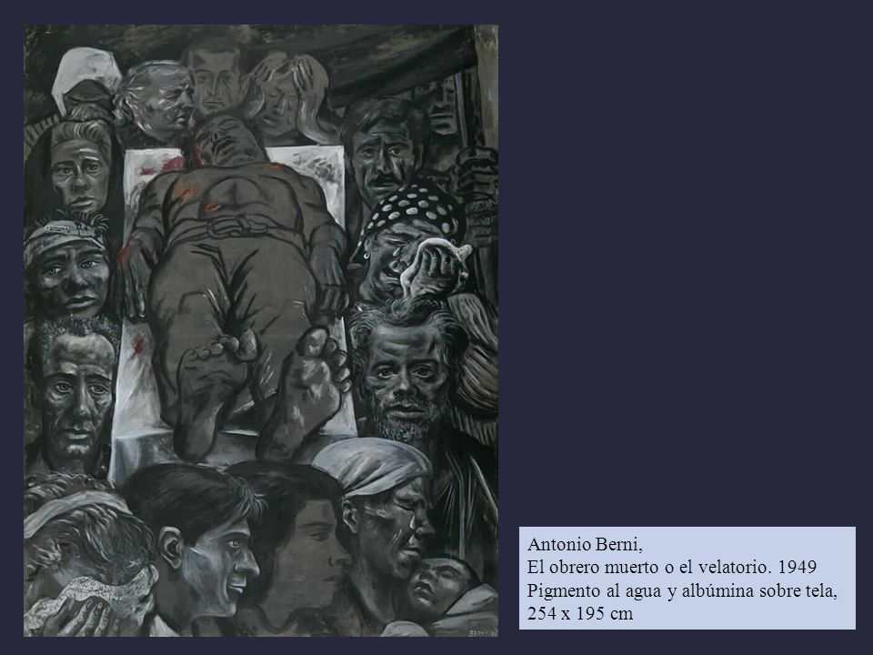 Antonio Berni, El obrero muerto o el velatorio. 1949.