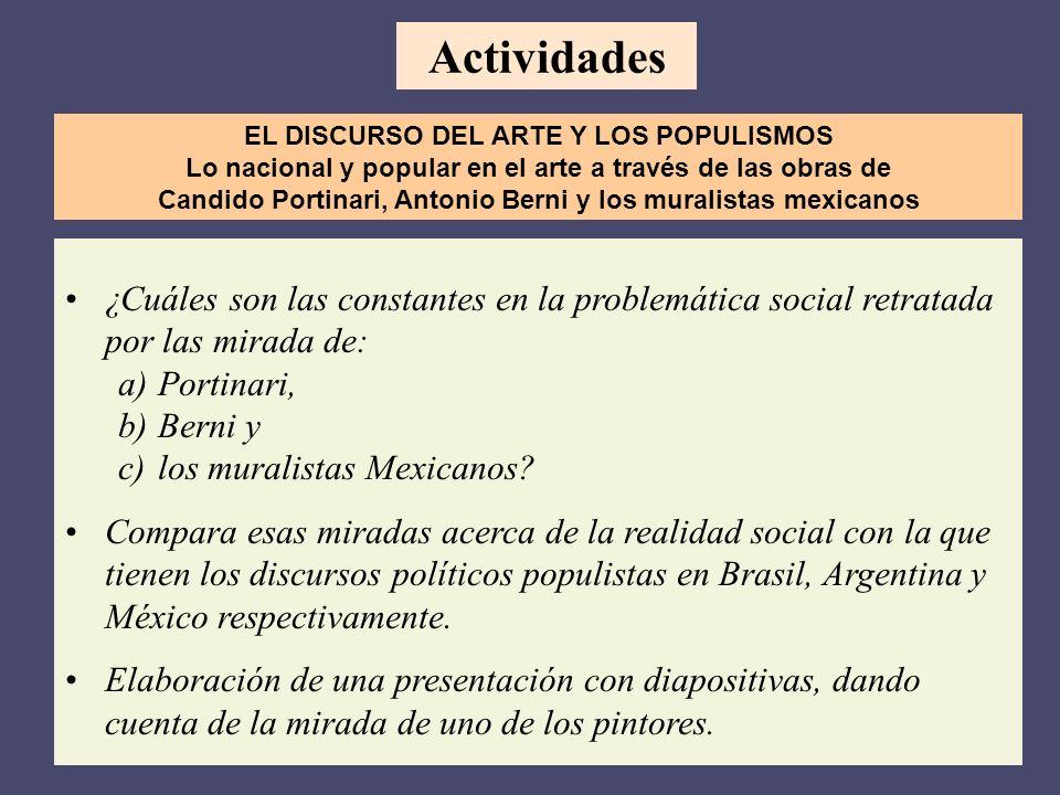 Actividades EL DISCURSO DEL ARTE Y LOS POPULISMOS. Lo nacional y popular en el arte a través de las obras de.