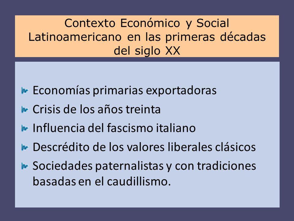 Economías primarias exportadoras Crisis de los años treinta