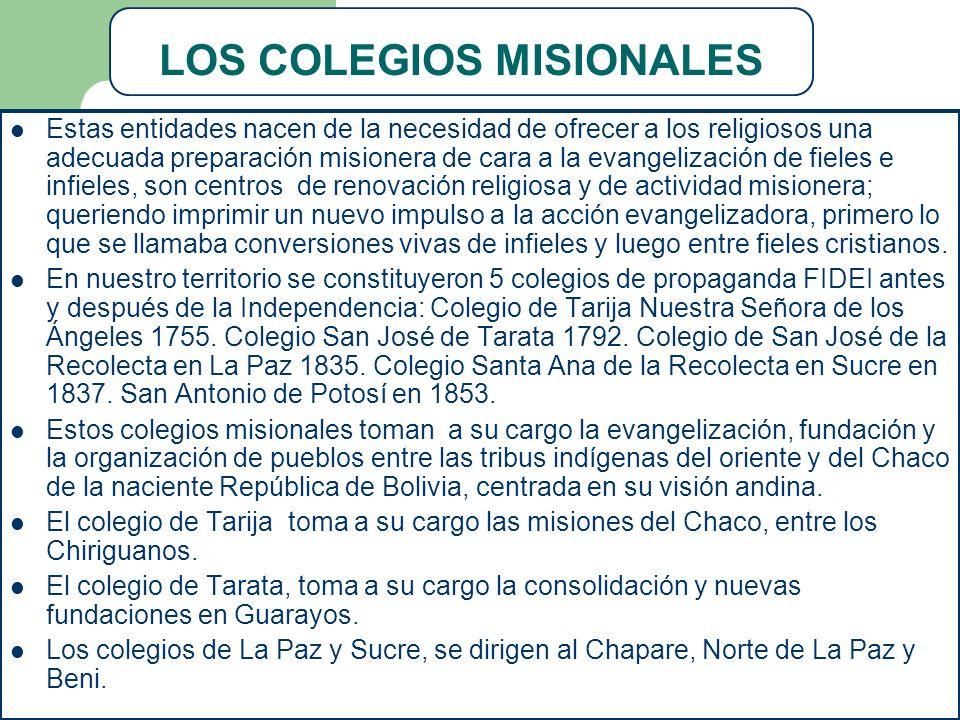 LOS COLEGIOS MISIONALES