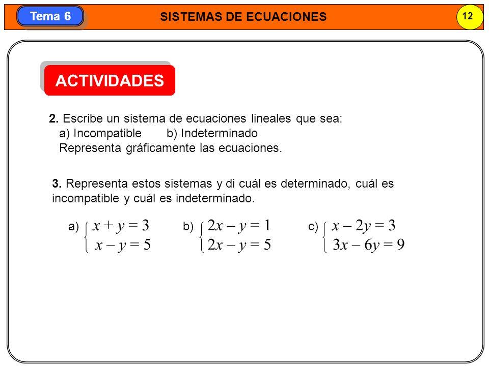 ACTIVIDADES x – y = 5 2x – y = 5 3x – 6y = 9