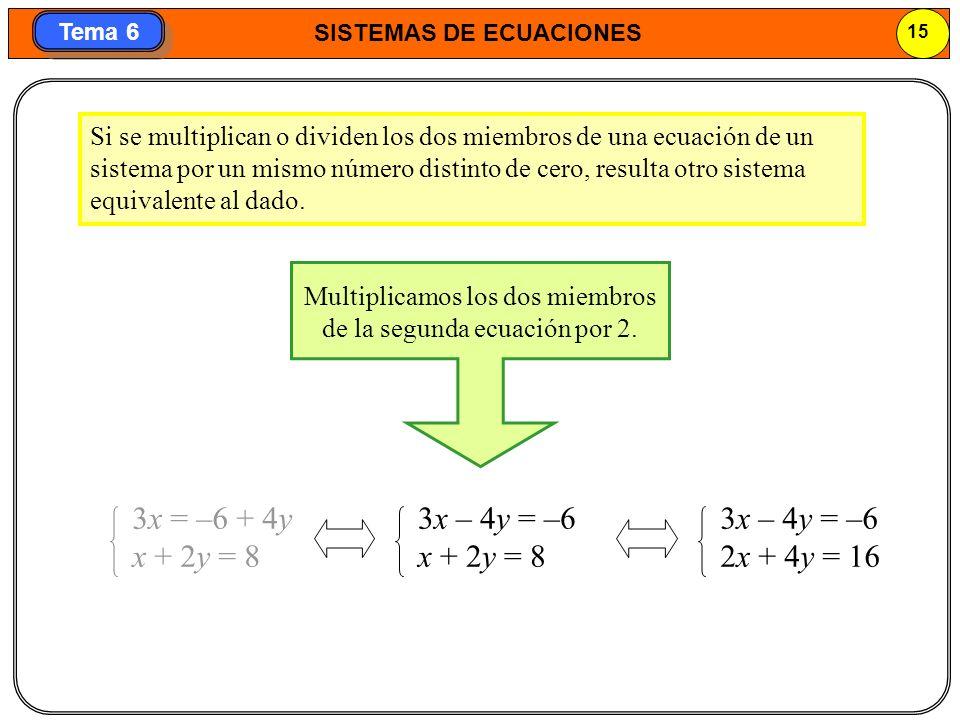 Multiplicamos los dos miembros de la segunda ecuación por 2.