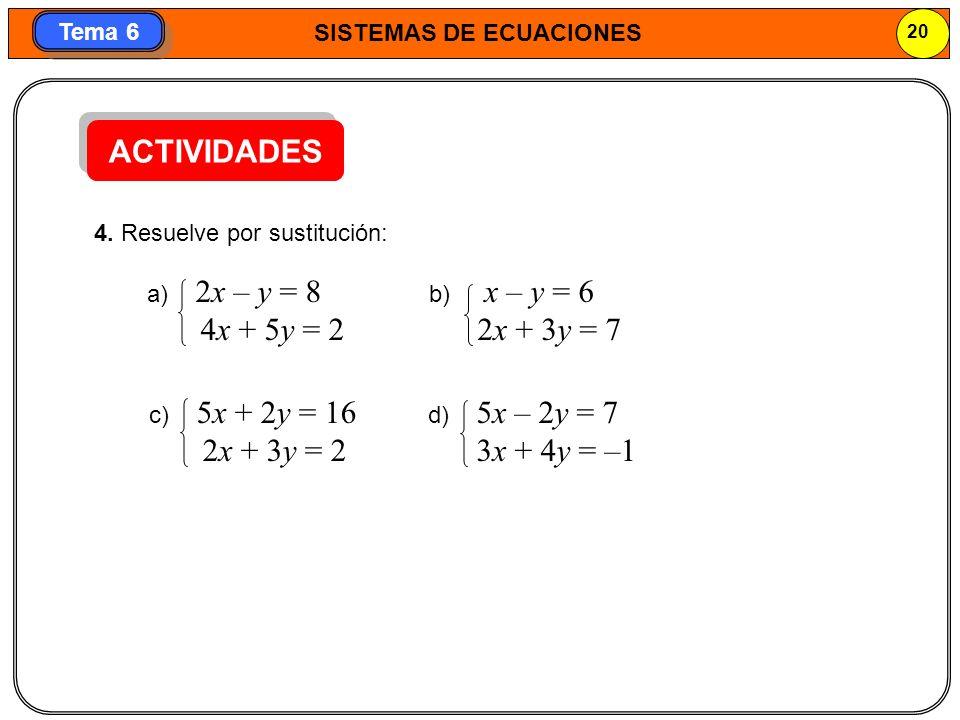 ACTIVIDADES 4x + 5y = 2 2x + 3y = 7 2x + 3y = 2 3x + 4y = –1