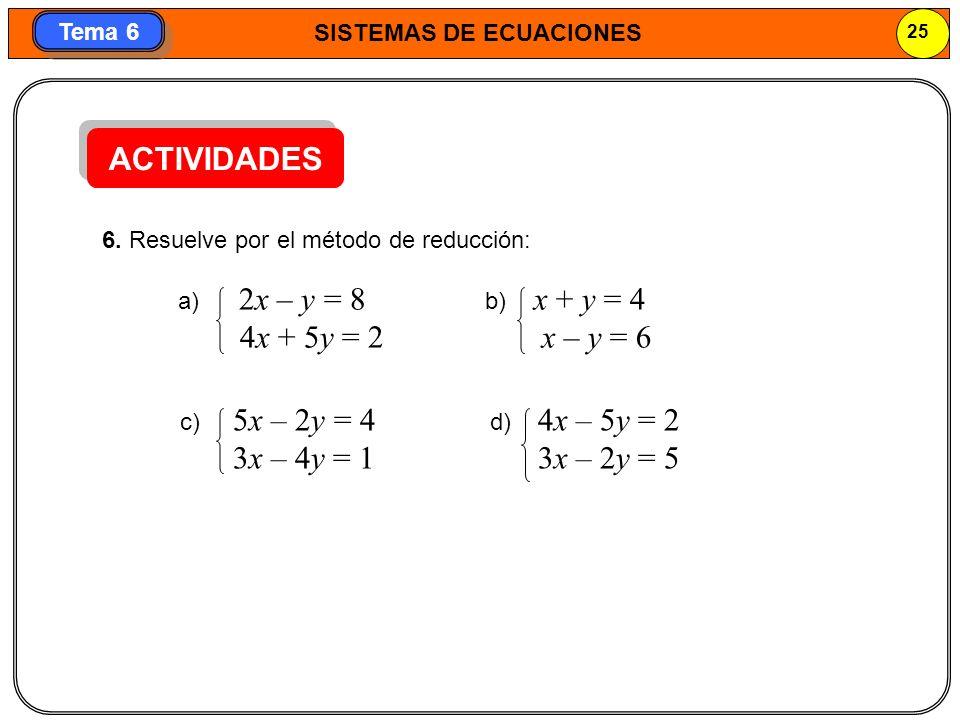 ACTIVIDADES 4x + 5y = 2 x – y = 6 3x – 4y = 1 3x – 2y = 5