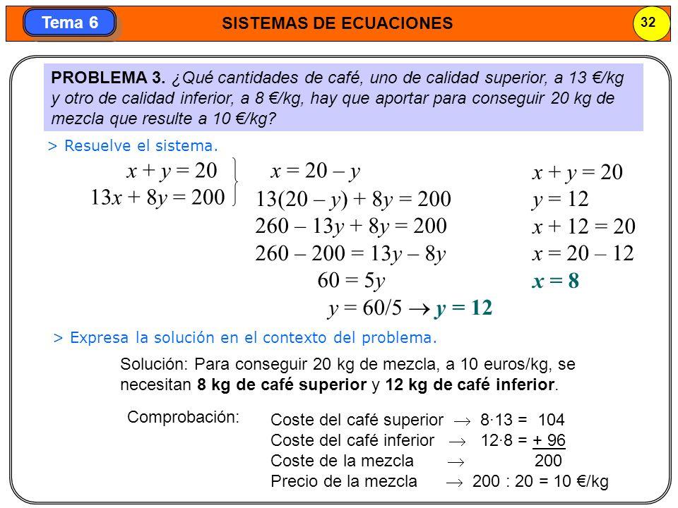 x + y = 20 13x + 8y = 200 x = 20 – y x + y = 20 y = 12 x + 12 = 20