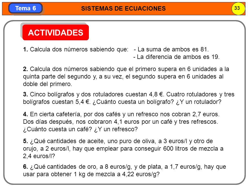ACTIVIDADES 1. Calcula dos números sabiendo que: - La suma de ambos es 81. - La diferencia de ambos es 19.