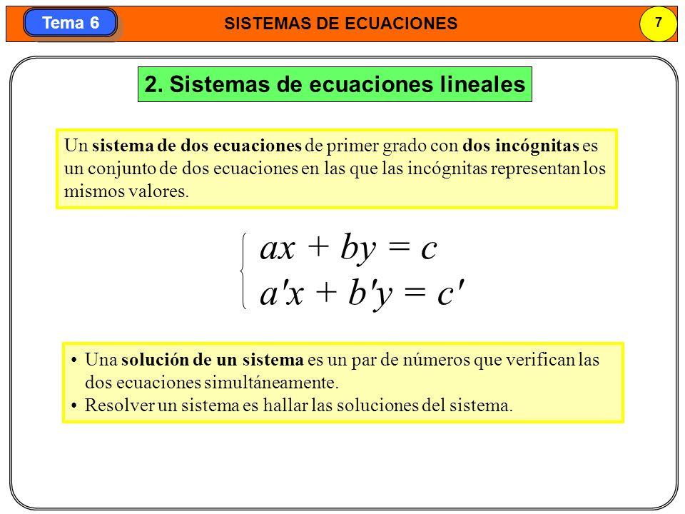 ax + by = c a x + b y = c 2. Sistemas de ecuaciones lineales