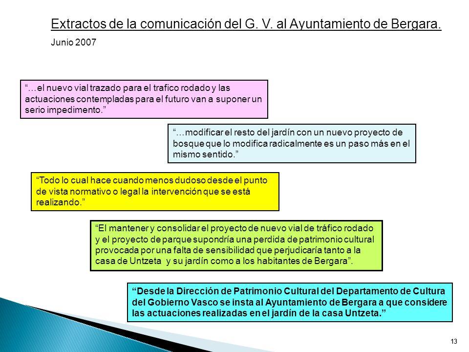 Extractos de la comunicación del G. V. al Ayuntamiento de Bergara.