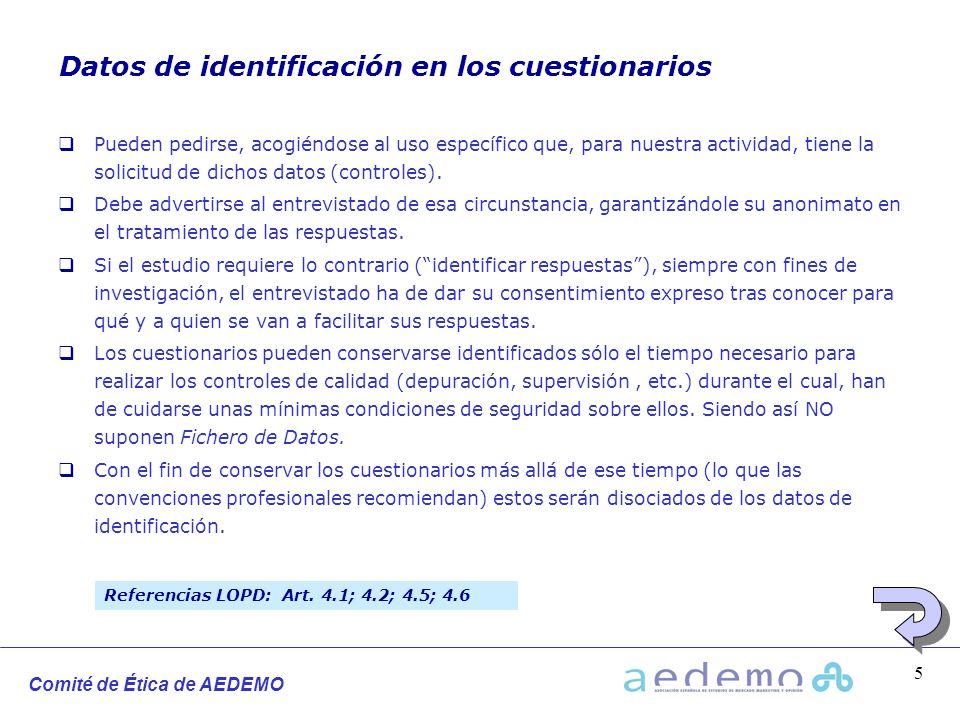 Datos de identificación en los cuestionarios