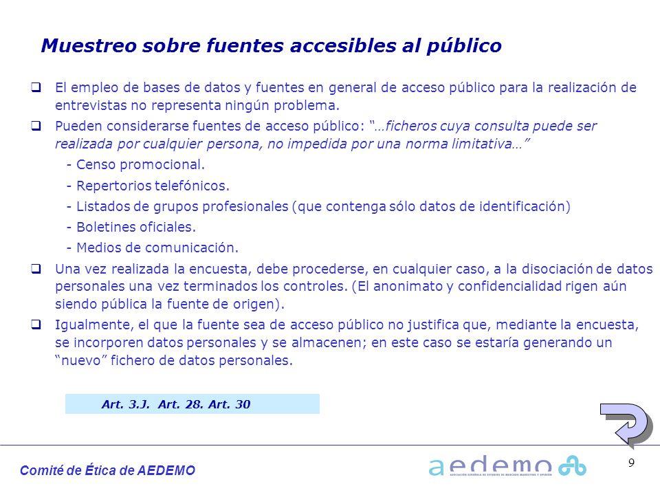 Muestreo sobre fuentes accesibles al público
