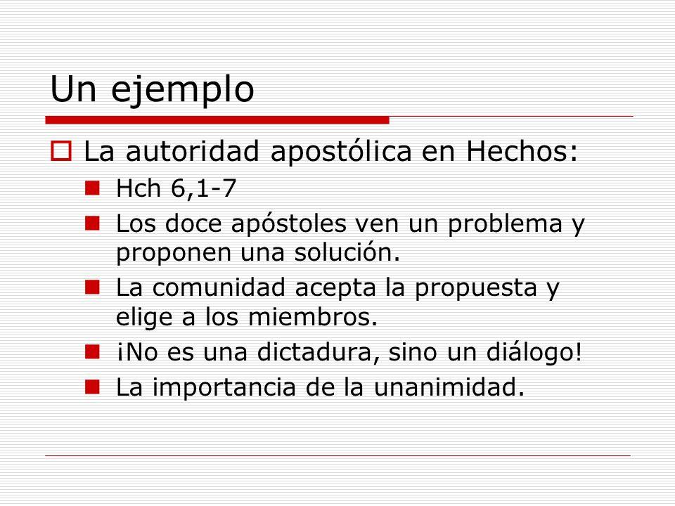 Un ejemplo La autoridad apostólica en Hechos: Hch 6,1-7