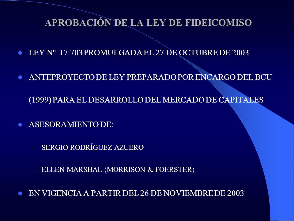 APROBACIÓN DE LA LEY DE FIDEICOMISO