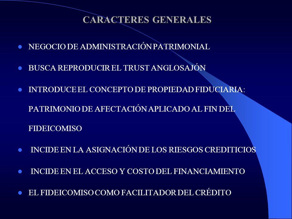 CARACTERES GENERALES NEGOCIO DE ADMINISTRACIÓN PATRIMONIAL