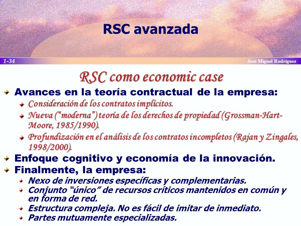 RSC como economic case RSC avanzada
