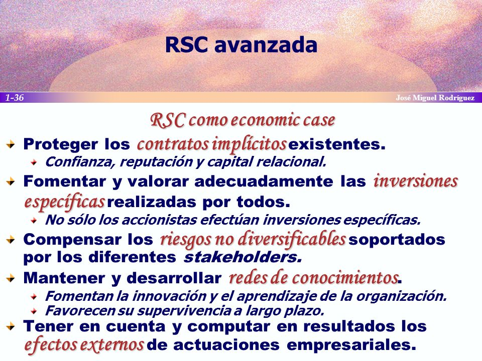 RSC avanzada RSC como economic case