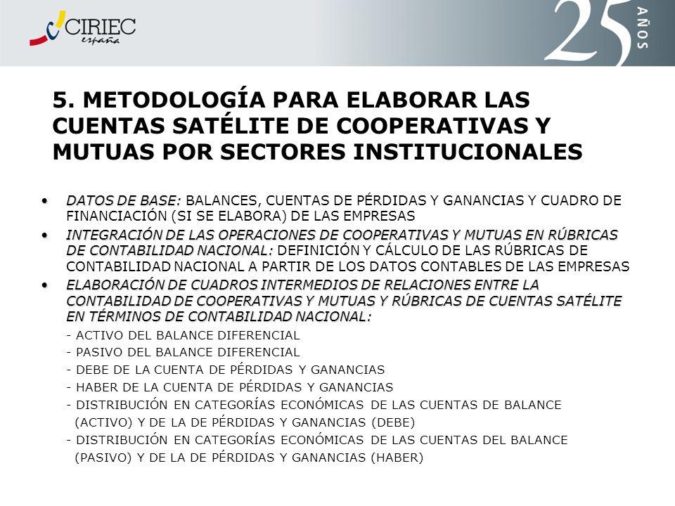 5. METODOLOGÍA PARA ELABORAR LAS CUENTAS SATÉLITE DE COOPERATIVAS Y MUTUAS POR SECTORES INSTITUCIONALES