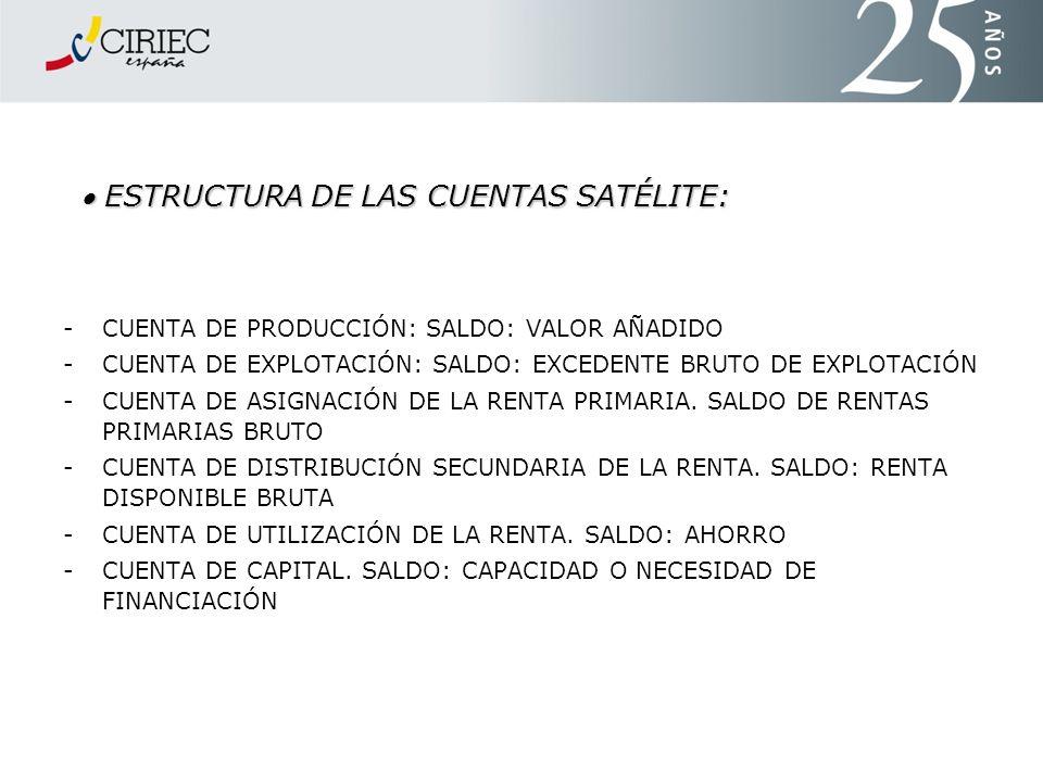  ESTRUCTURA DE LAS CUENTAS SATÉLITE: