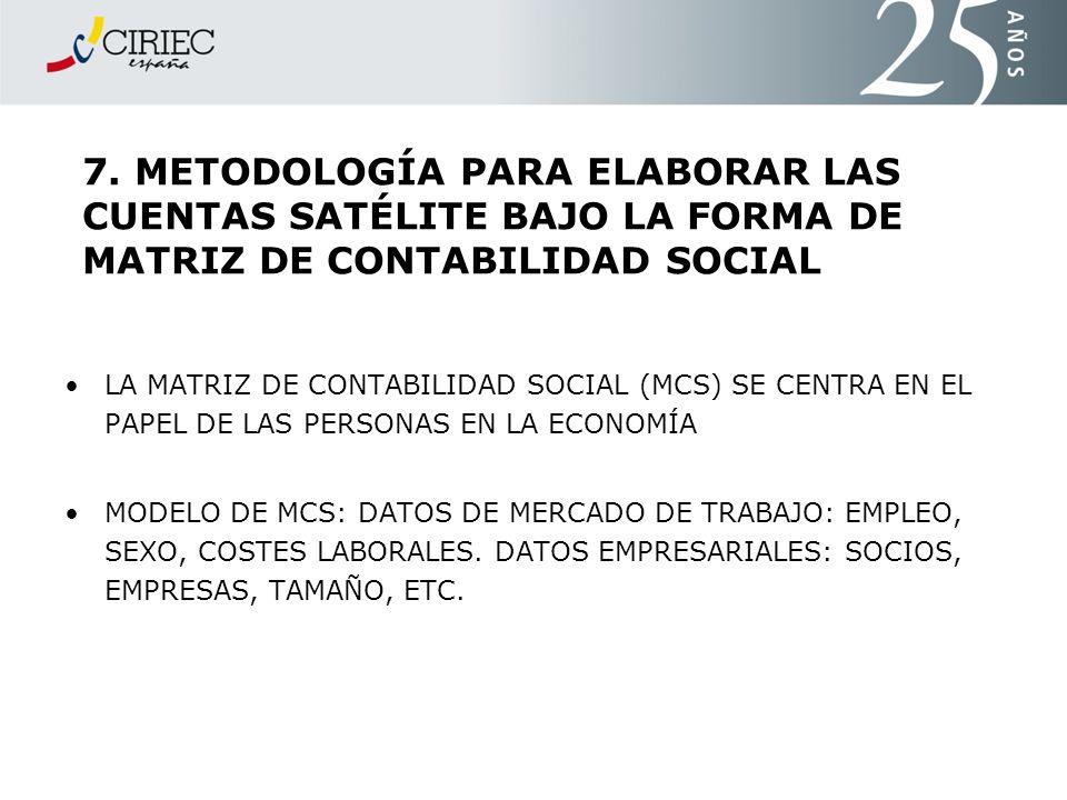 7. METODOLOGÍA PARA ELABORAR LAS CUENTAS SATÉLITE BAJO LA FORMA DE MATRIZ DE CONTABILIDAD SOCIAL