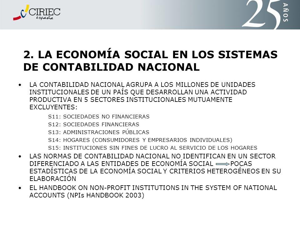 2. LA ECONOMÍA SOCIAL EN LOS SISTEMAS DE CONTABILIDAD NACIONAL