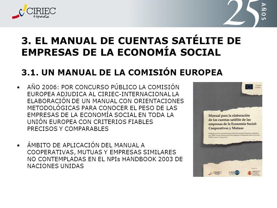 3. EL MANUAL DE CUENTAS SATÉLITE DE EMPRESAS DE LA ECONOMÍA SOCIAL 3.1. UN MANUAL DE LA COMISIÓN EUROPEA
