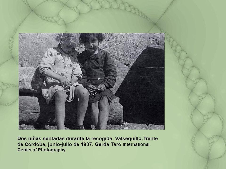 Dos niñas sentadas durante la recogida