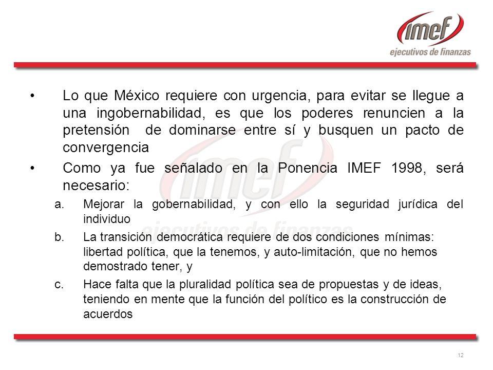 Como ya fue señalado en la Ponencia IMEF 1998, será necesario: