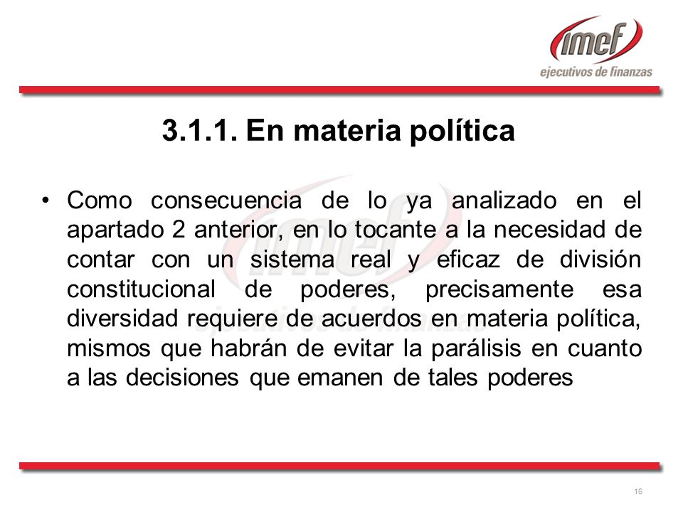 3.1.1. En materia política